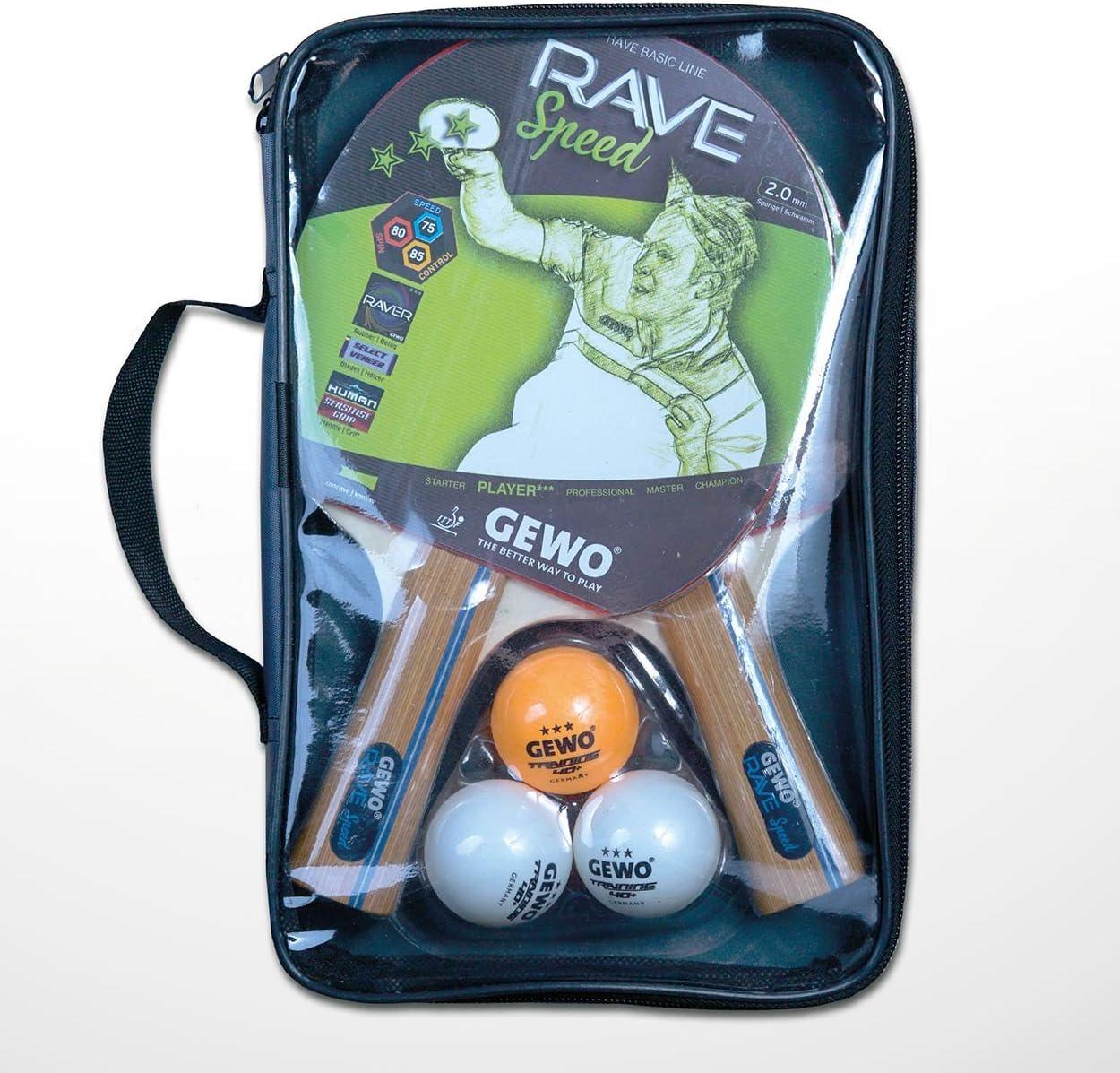 GEWO - Juego de Raquetas de Tenis de Mesa Rave Speed, Marrones, tamaño único