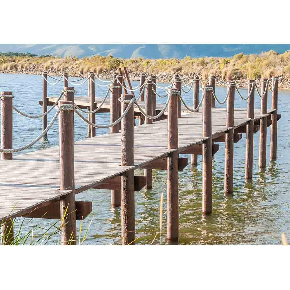 LanimioLOX Repeating Pattern of Wooden Poles in a Jetty in a Dam Near Sir Lowrys Pass - Removable Wall Mural | Self-Adhesive Large Wallpaper