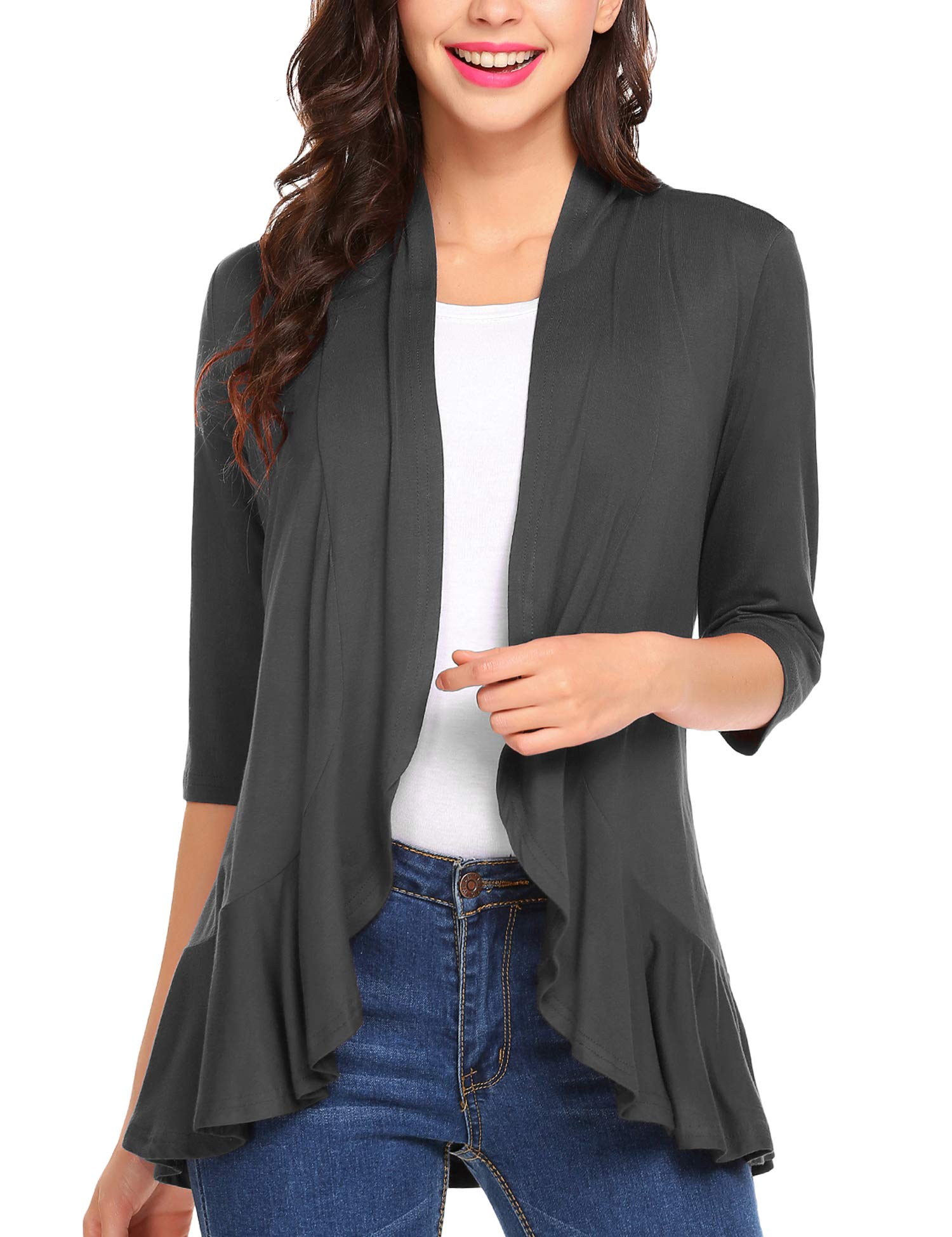 dd09ac54a57 Zeagoo Women s Open Front Cardigan 3 4 Sleeve Draped Ruffles Kimono Soft  Knit Sweaters Dark Grey Small