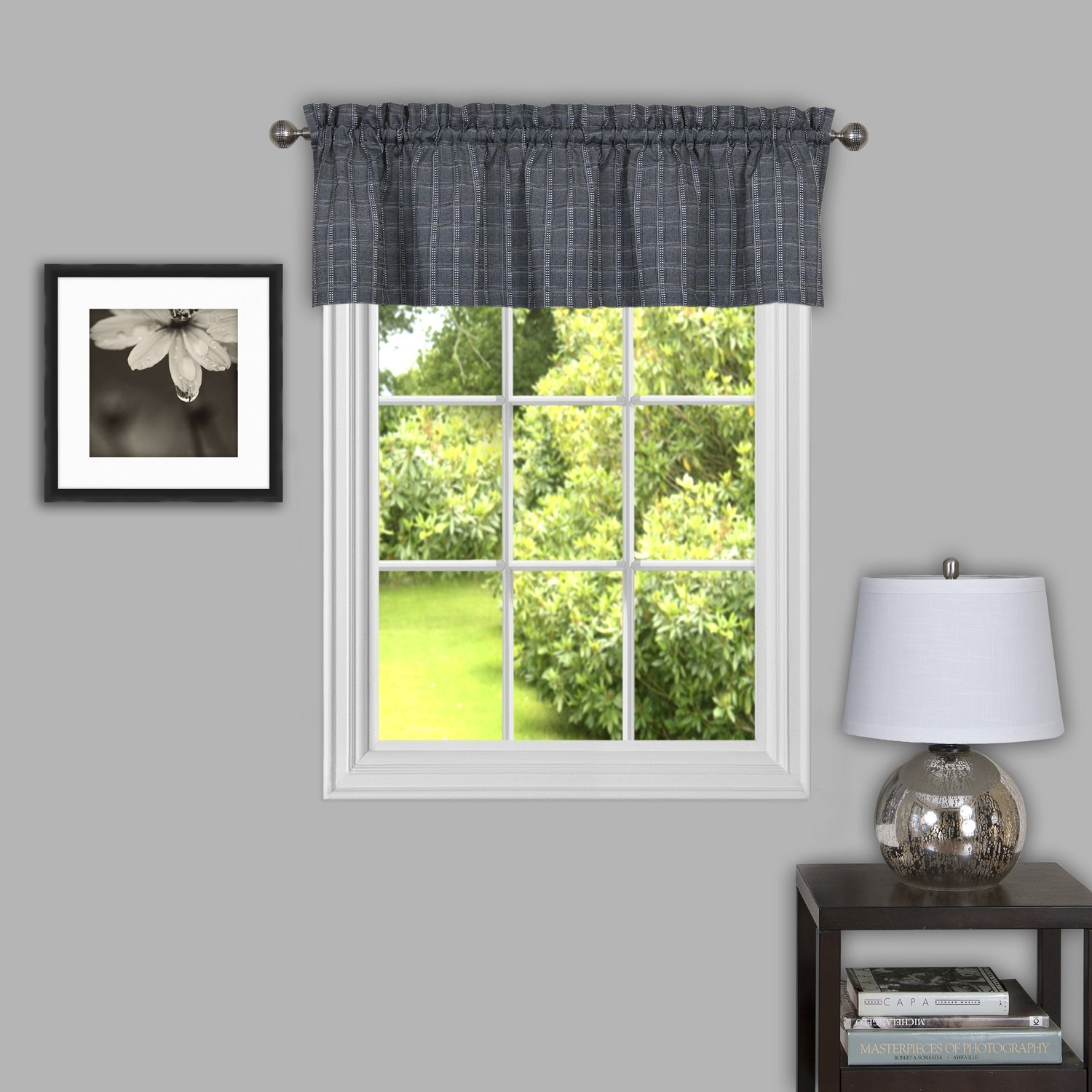 "Achim Home Furnishings Sydney Window Curtain Valance, 58"" x 14"", Grey"