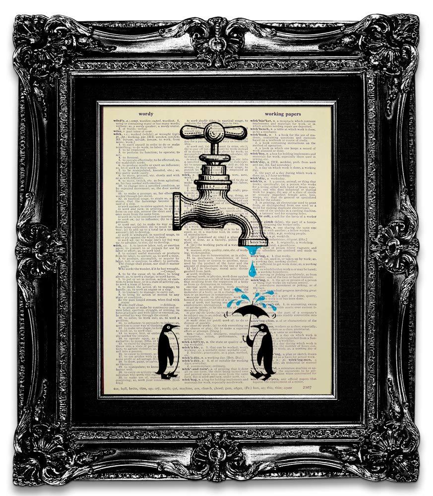 Amazon Com Funny Penguin Bathroom Decor Wall Art Poster Print Decoration Kids Bathroom Wall Art For Teen Boy Baby Girl Woman Man Animal Dictionary Art Print Original Artwork Handmade