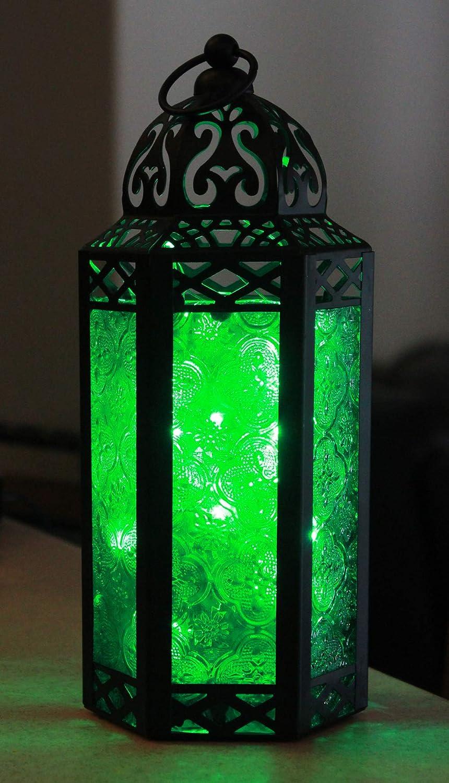 Vela Lanterns Moroccan Style Candle Lantern with LED Fairy Lights, Medium, Green Glass