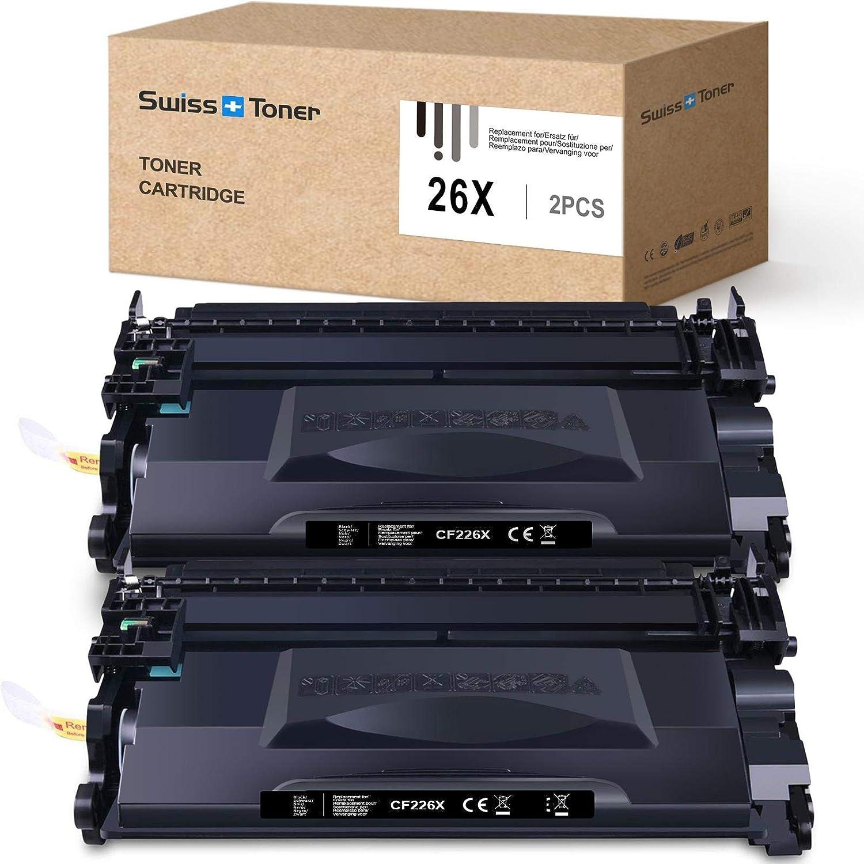 SWISS TONER Compatible con HP 26X CF226X Cartuchos de tóner para HP Laserjet Pro M402n M402dn M402dw MFP M426fdw MFP M426fdn Impresora (2Negro)