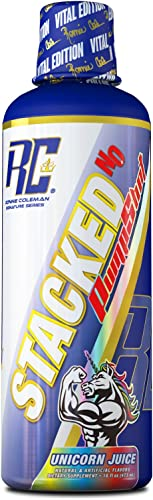 Ronnie Coleman Signature Series Stacked No Liquid Pump Shot Pre Workout Blood Volumizer, Unicorn Juice, 16 Fluid Ounce