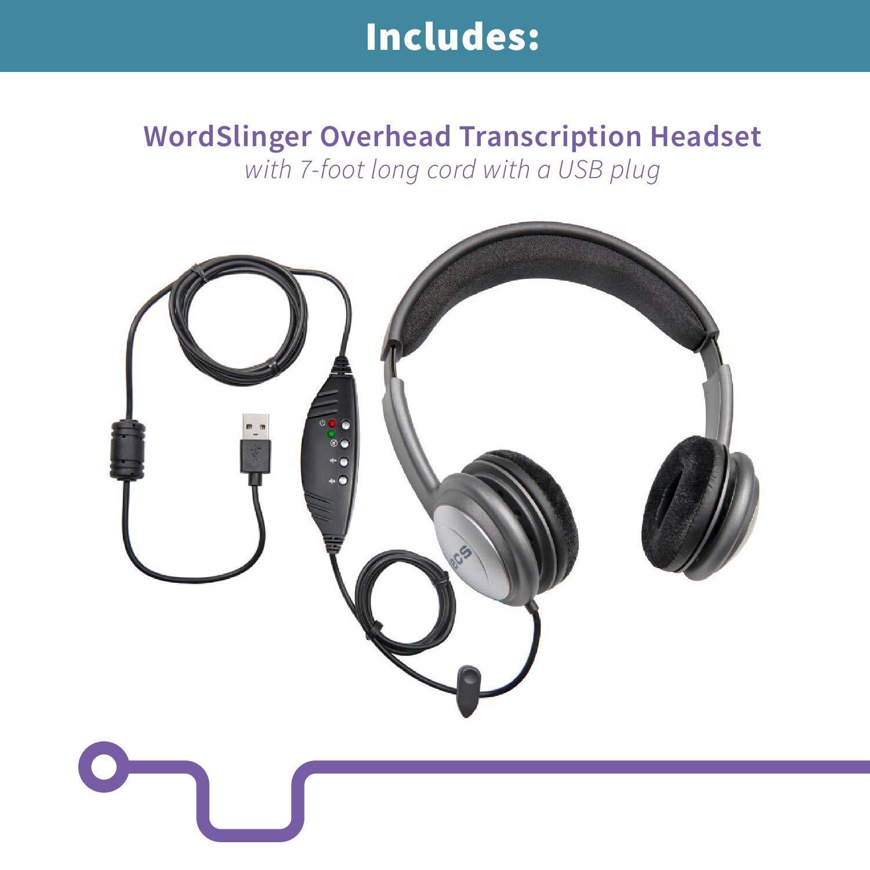 ECS OHUSB WordSlinger Deluxe Overhead USB Transcription Headset