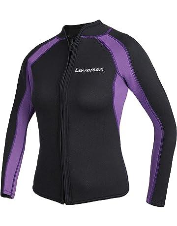 5d500a36a38 Lemorecn Women s 3mm Wetsuits Jacket Long Sleeve Neoprene Wetsuits Top