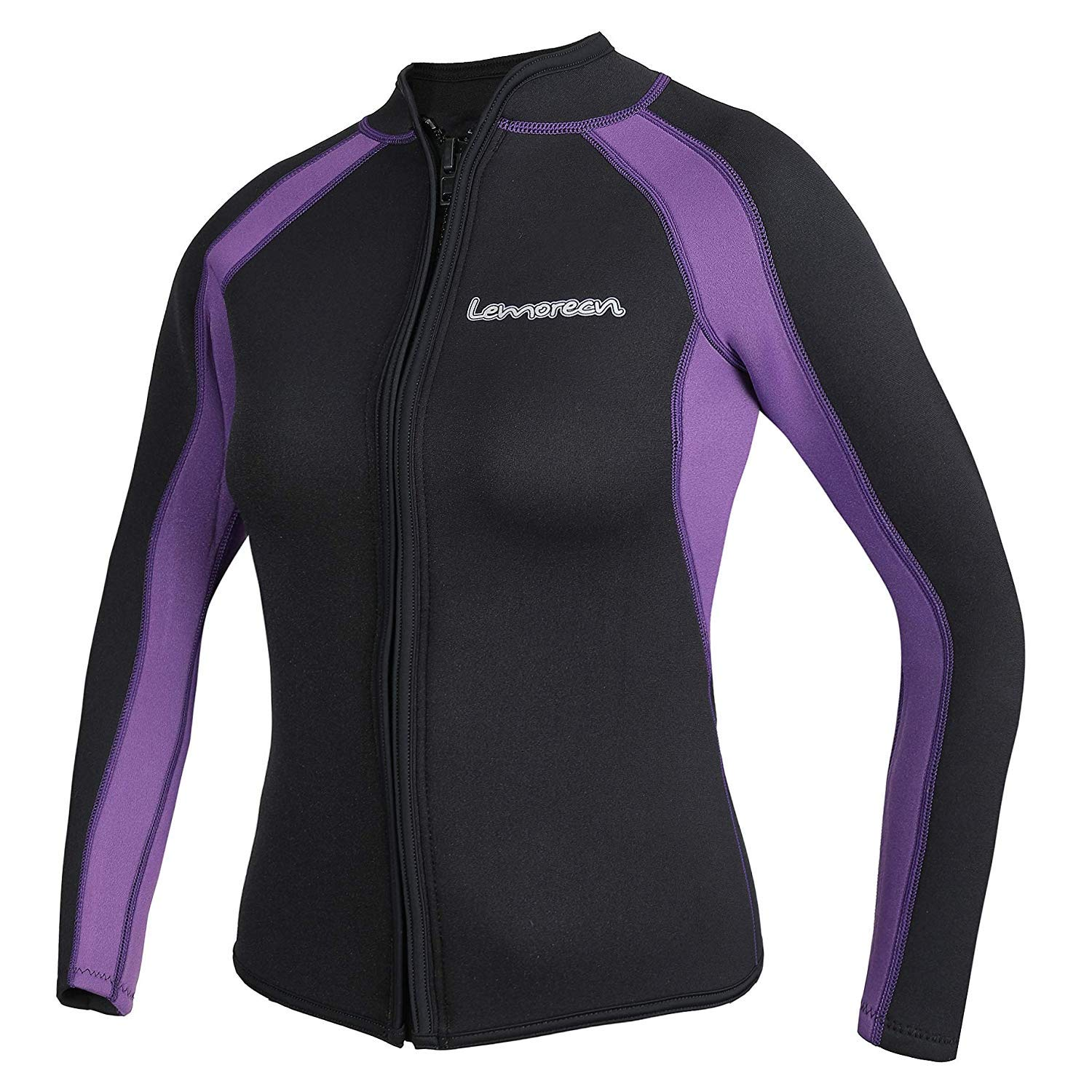 Lemorecn Women's 3mm Wetsuits Jacket Long Sleeve Neoprene Wetsuits Top (2041blackpurple4) by Lemorecn