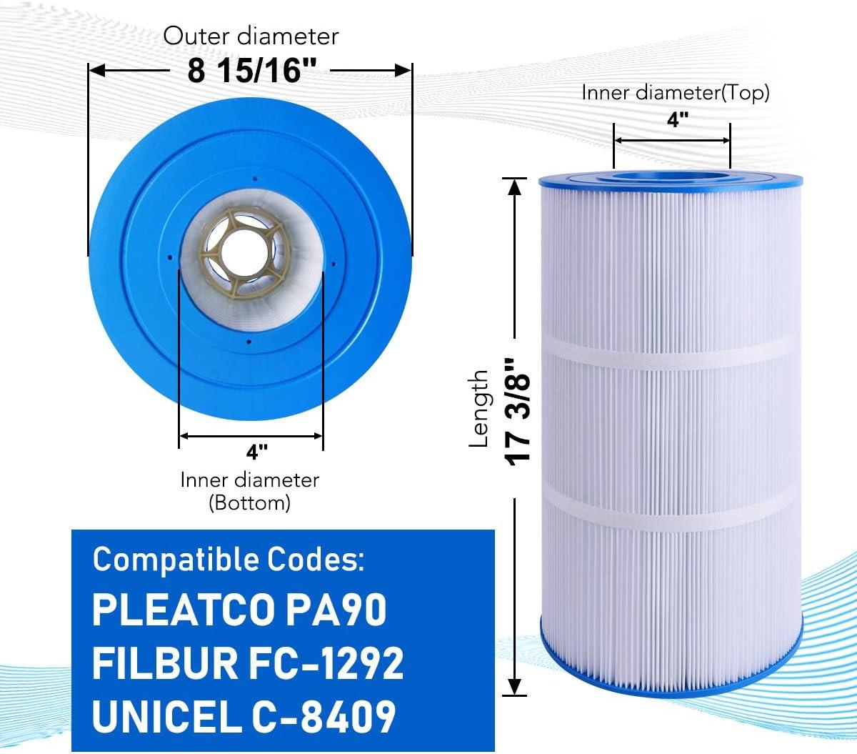 POOLPURE Swimming Pool Filter Replaces for PLEATCO PA90 Hayward CX900RE FILBUR FC-1292 UNICEL C-8409 1 Cartridge