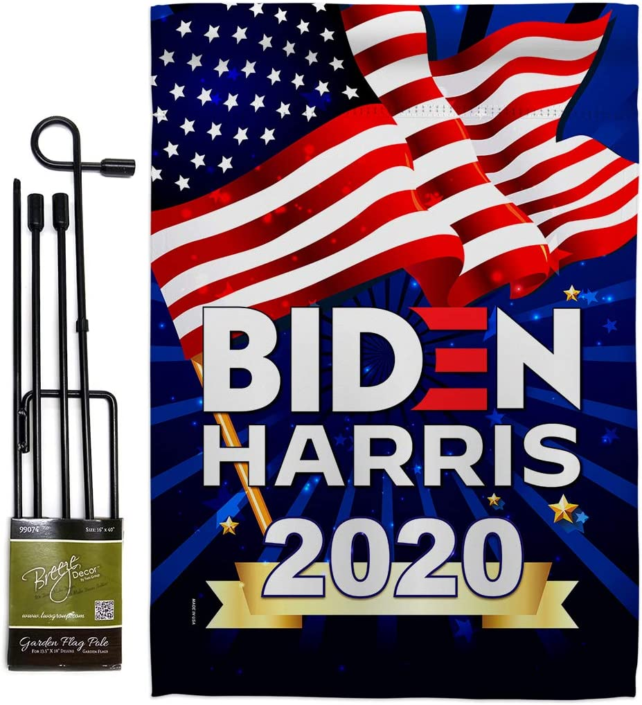 2020 Vote President Garden Flag - Set with Stand Patriotic Democrat Republican Tea Party United State American Election - House Banner Small Yard Gift Double-Sided 13 X 18.5