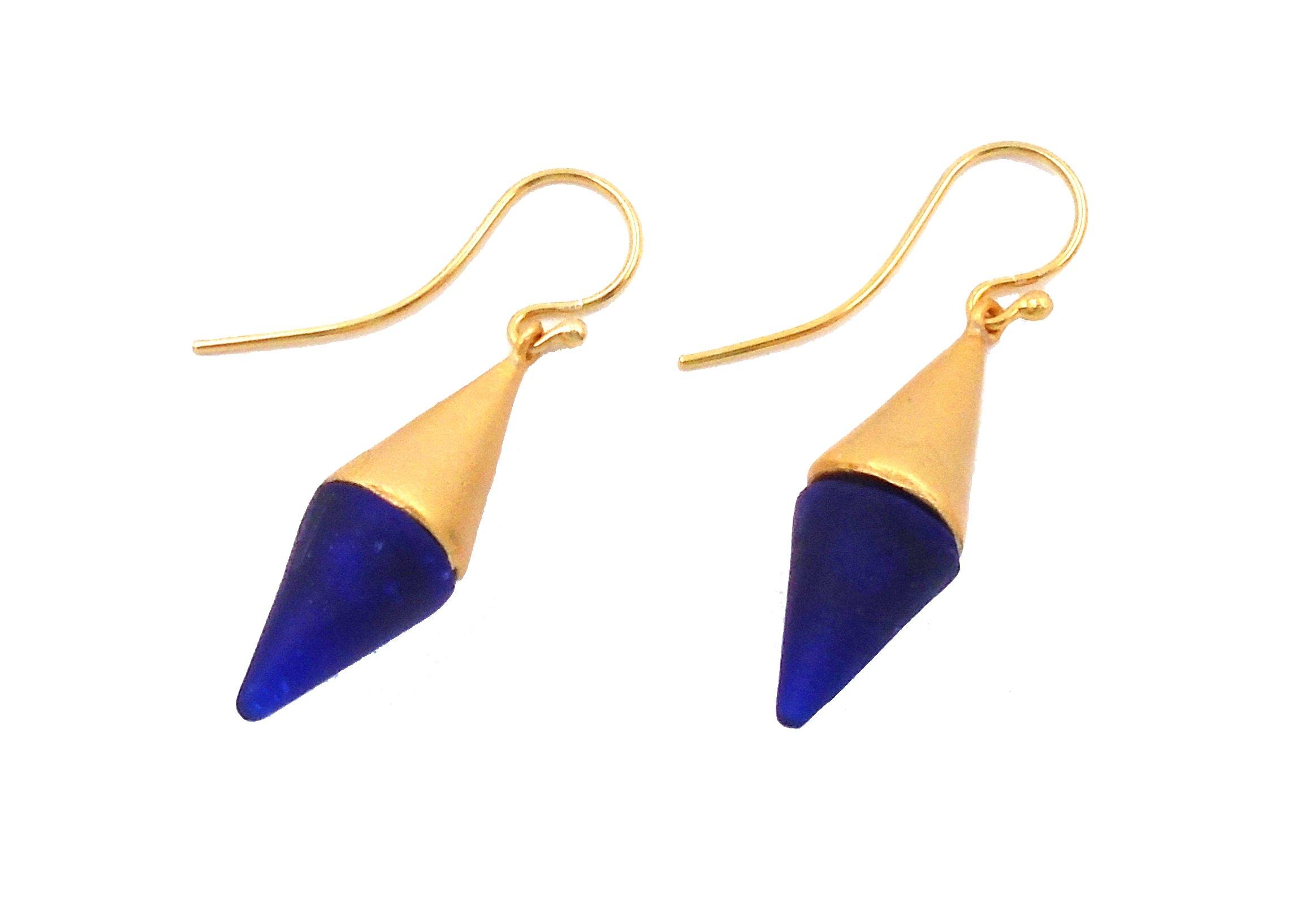 Michael Vincent Michaud- Glass ''Medium Spike Hanging Earring'' in Cobalt Blue