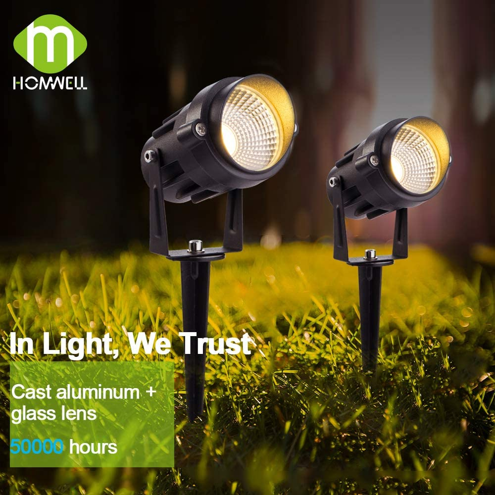 7W COB Foco Para Exteriores 750LM 2 Pack Homwell luces de jard/ín IP66 C/álido LED Foco Proyector blanca ideales para patio Camino Patio de entrada