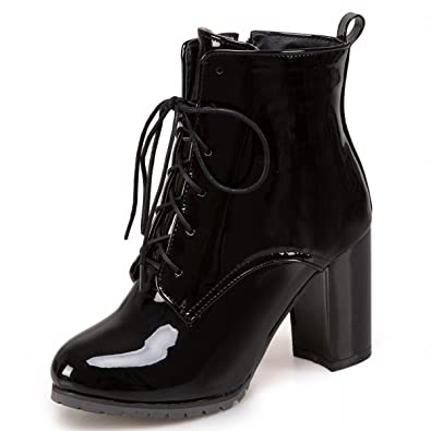 7bdc0e7796a Rongzhi Womens Ankle Boots Chunky Thick Heels Shiny Patent Leather Lace Up  Booties Black