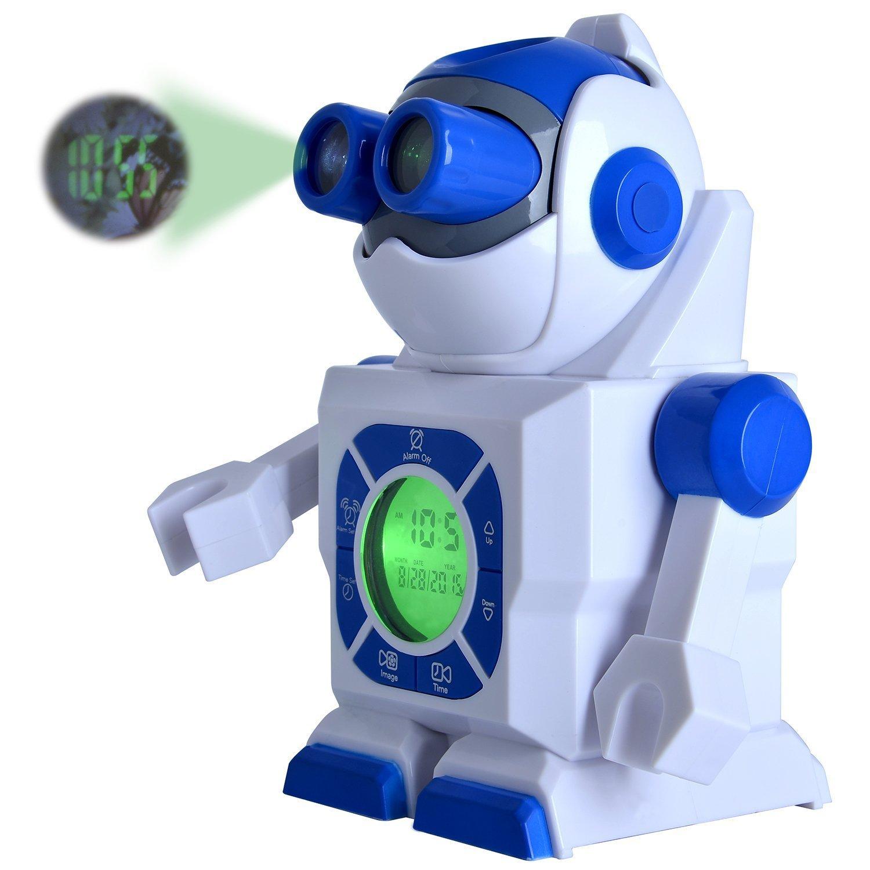 beehive-us 7''(17.8cm) Robot Led Kids Alarm Clock, Portable Image Display Clock Night Light Projector