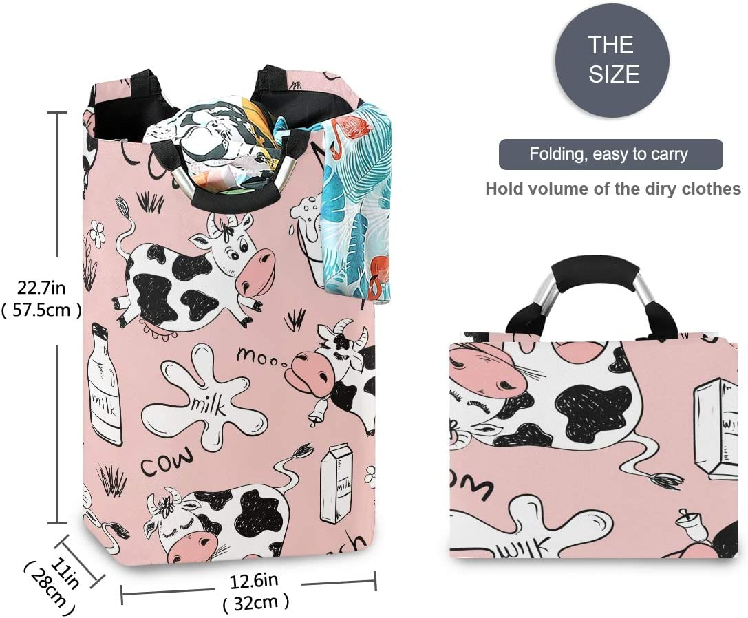 H Collapsible Laundry Hamper Cute Cartoon Cow Laundry Basket Organizer Large With Handle Foldable Clothes Hamper Housingmart 22 7 Hampers Toys Games