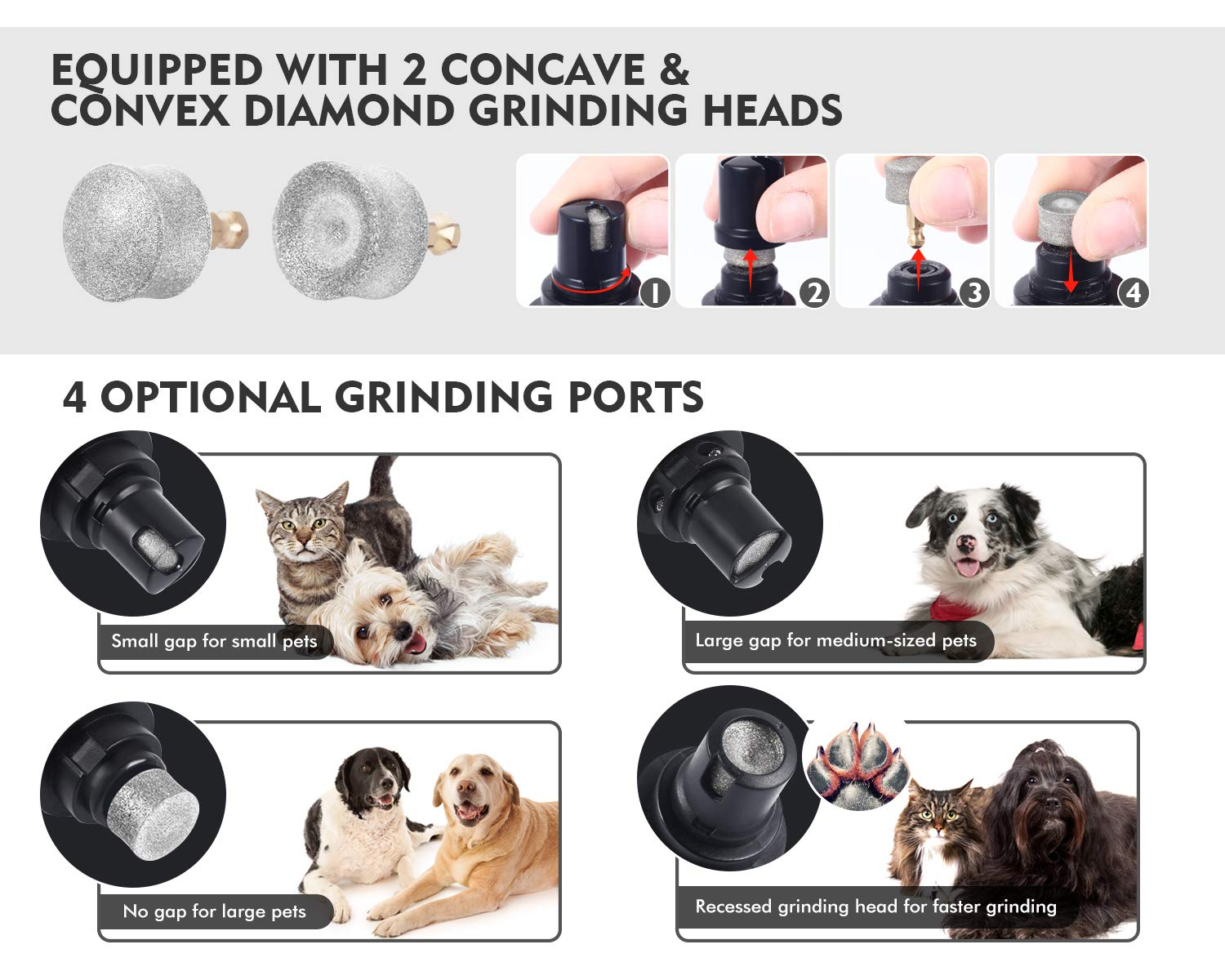 Pecute Dog Nail Grinder, Rechargeable Electric Pet Nail Trimmer for Paw Grooming, Gentle and Painless Nail Clipper for Medium and Large Dogs (2H Quick USB Charge 14H Long Work Time)