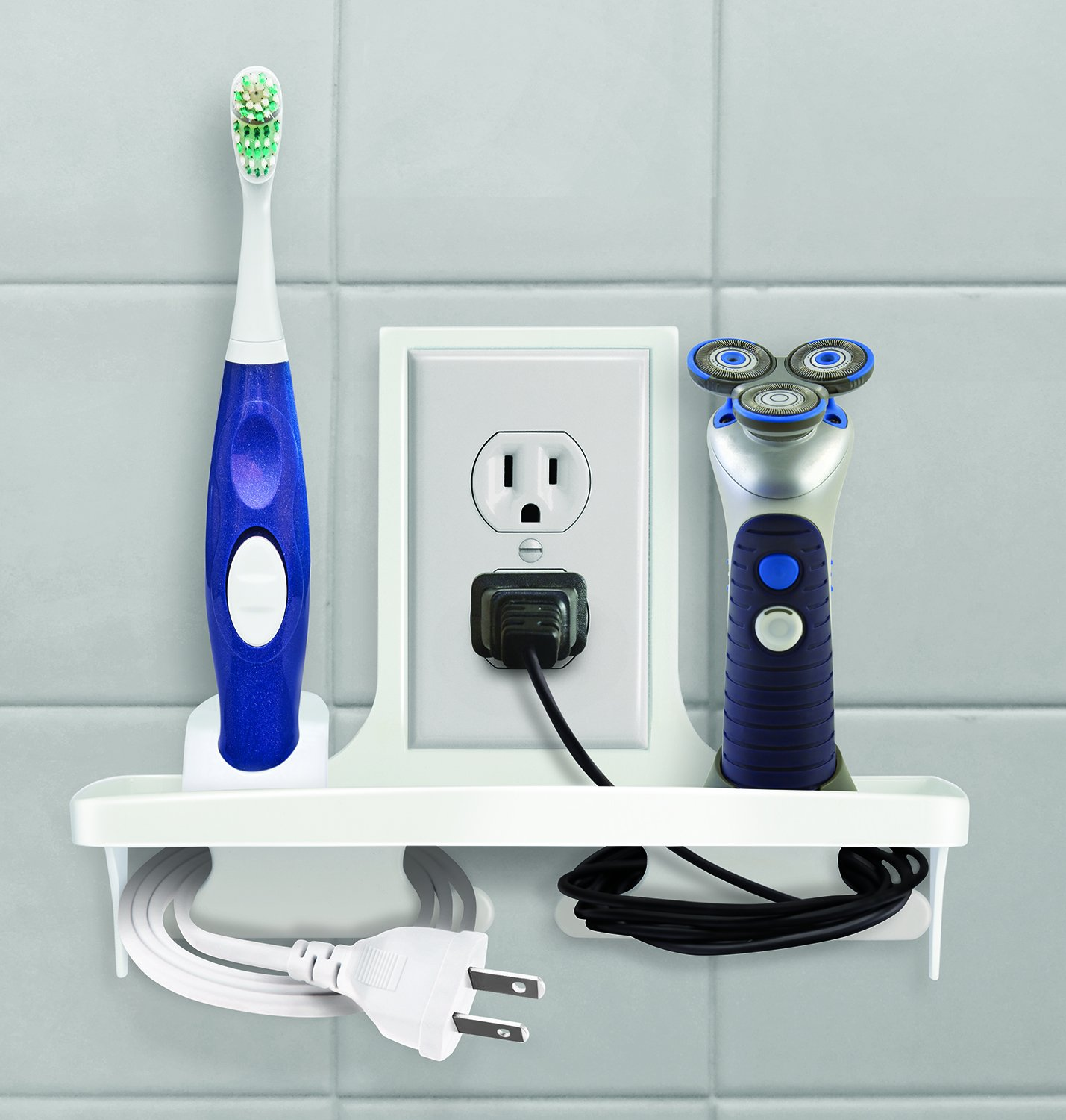 IdeaWorks Wall Outlet Organizer Stores, Organizes, And Charges Your Phone, Electric Toothbrush, and Shavers,White,9''