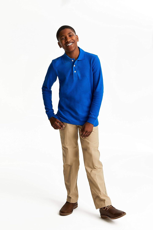 French Toast Boys Long Sleeve Pique Polo Shirt Standard /& Husky