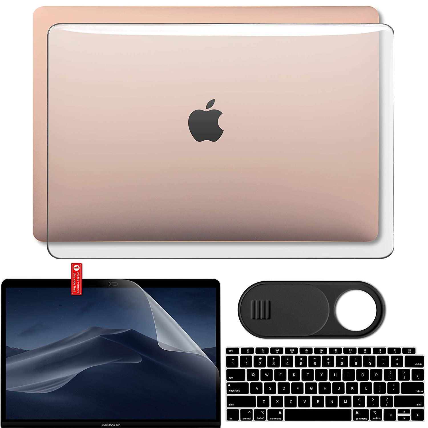 Privacy Webcam Cover Slide Teal Screen Protector Set Keyboard Skin Cover Plastic Hard Case Shell GMYLE MacBook Air 13 Inch Case 2018 Release A1932 with Touch ID Retina Display Bundle