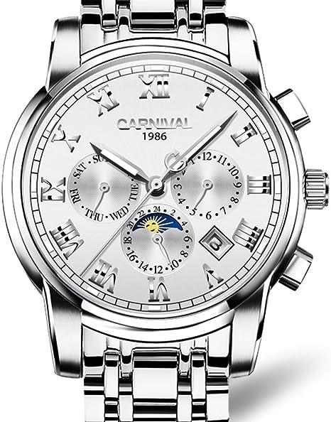Para hombre multifuncional 25 joyas automático relojes banda de plata tapa trasera transparente relojes blanco