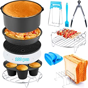 Air Fryer Accessories 12 PCS for Ninja Phillips Gowise Gourmia Dash Power XL Air Fryer, Fit 3.2-4.2-5.8QT Air Fryer with 7 Inch Cake Pan, Pizza Pan, Silicone Baking Cup, Skewer Rack, Parchment Paper