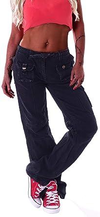 Top Qualität großartige Qualität attraktiv und langlebig Style-Station Damen Cargohose Stoffhose Cargo Hose Hüfthose Jeans  Cargojeans Taschen Baggy Worker Arbeitshose
