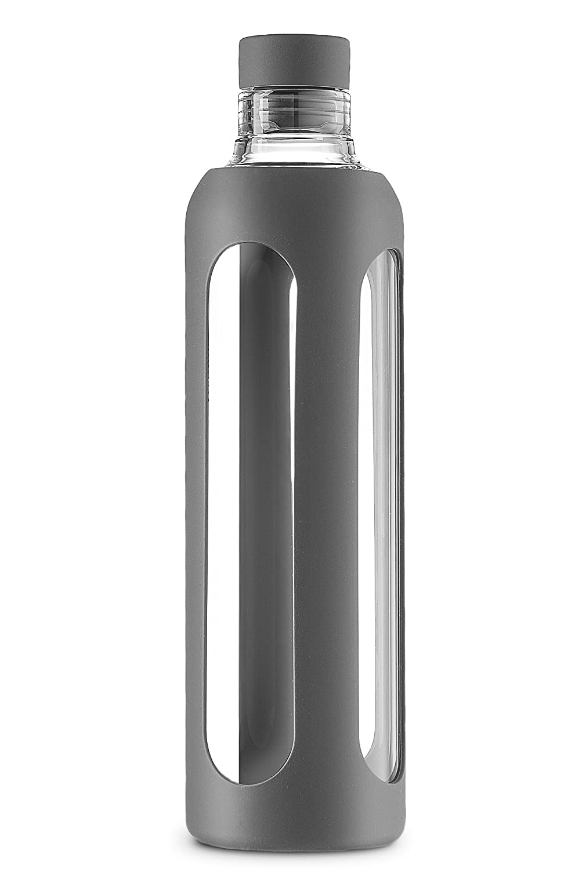 SWIG SAVVY Botella de Agua de Vidrio de Elegante Borosilicato Real de 200 onzas Con Mango de Silicona ? Tapa de Corcho de Silicona - Gris: Amazon.es: ...