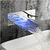 Wovier LED Water Flow Chrome Wall Mount Waterfall Bathroom Sink Faucet,Color Changing,Single Handle Single Hole Vessel Lavatory Faucet,Basin Mixer Tap Tall Body