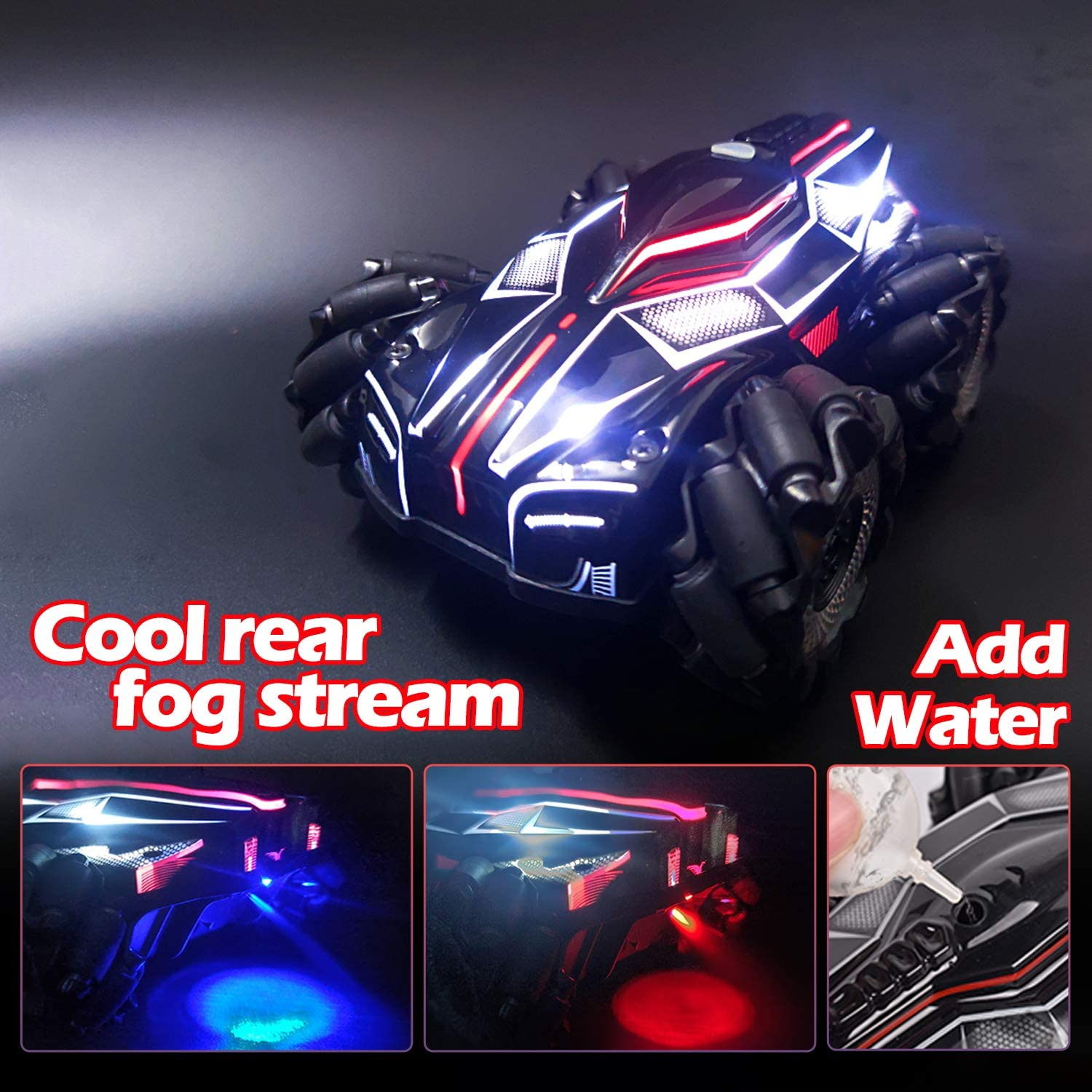 HR Fog Remote Control Car for Kids High Speed LED Light Race RC Car,Rear Fog Stream 4WD 2.4GHz Double Sided Rotating 360/°Flips Vehicles Birthday Gifts for Boys and Girls