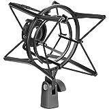 Neewer Montura de Choque de Micrófono de Araña Soporte a Prueba de Choques Suspensión Anti Vibración Alta Aislamiento, Construcción de Metal Duradera para Grabación de Radio, Podcasting y Radiodifusión(Negro)