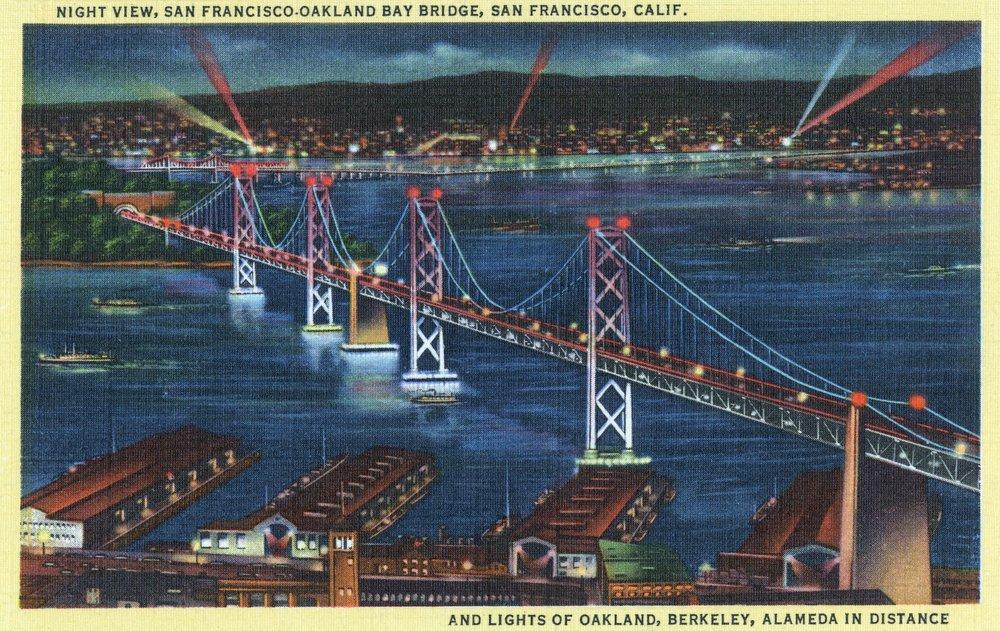 San Francisco, California - Aerial View of Bay Bridge at Night (9x12 Art Print, Wall Decor Travel Poster)