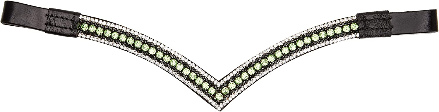 Cob 15 Cwell Equine V split Clear Crystal Browband Choice of 4 sizes Brown