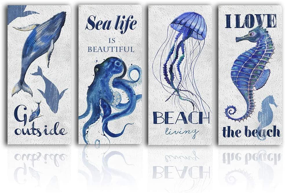 Blue Ocean-Life Wall-Art Bathroom Decor - Abstract Coastal Seahorse Octopus Print Canvas Painting Framed Bedroom Modern Decoration Picture Sea Animal World Small Artwork Poster 4 Piece Set