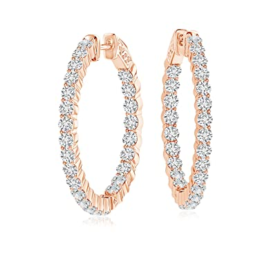 c2a7266f6288 Amazon.com: Shared Prong Lab Grown Diamond Inside Out Hoop Earrings in 14K  Rose Gold: Jewelry