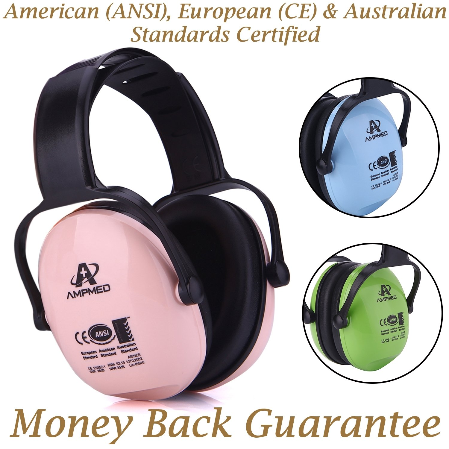 ecb7d1f2cae Amazon.com : Amplim Hearing Protection Earmuff for Toddlers, Teens and  Adults. Noise Cancelling Headphones for Kids. Autism Spectrum Ear Defenders  ...
