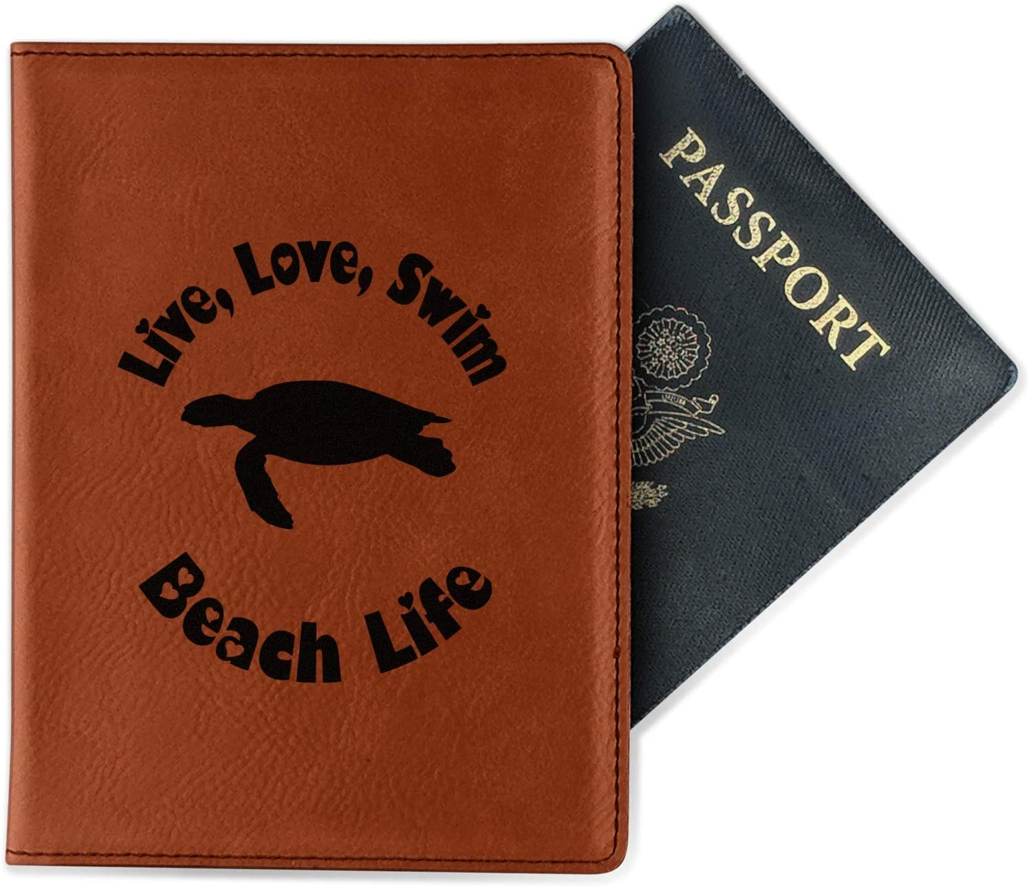 Double Sided Personalized Sea Turtles Leatherette Passport Holder