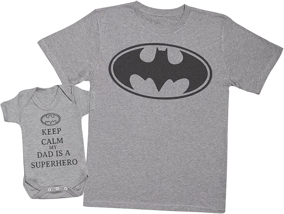 Keep Calm My Dad is a Hero – Juego de regalo para padre bebé – camiseta y body para hombre