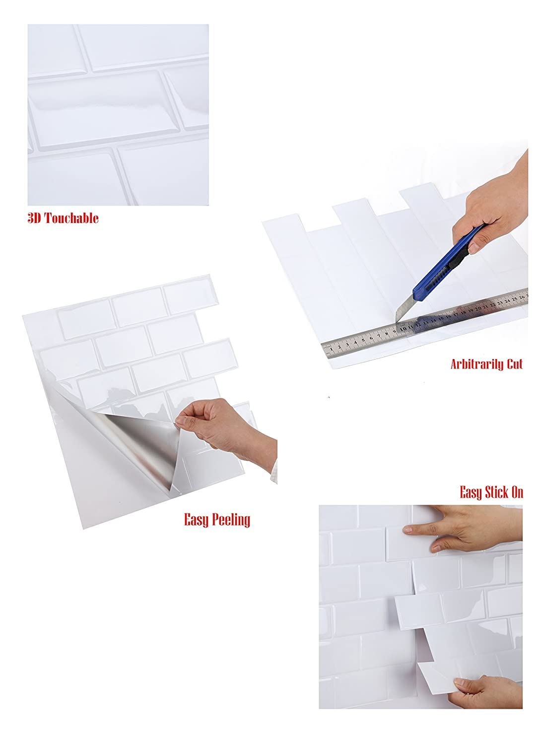 Wall Crafts® 3d sensorial mosaico Peel & stick azulejos cocina/baño Backsplash vinilo adhesivo decorativo para pared, 12