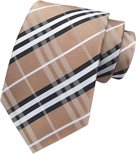 GIFTS FOR MEN Classic Mens Check Stripe Striped Silk Necktie Tie Orange White