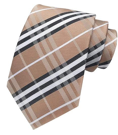7d63c8d6112e MENDENG New Classic Striped Plaid Brown Jacquard Woven Ties Silk Men Tie  Necktie
