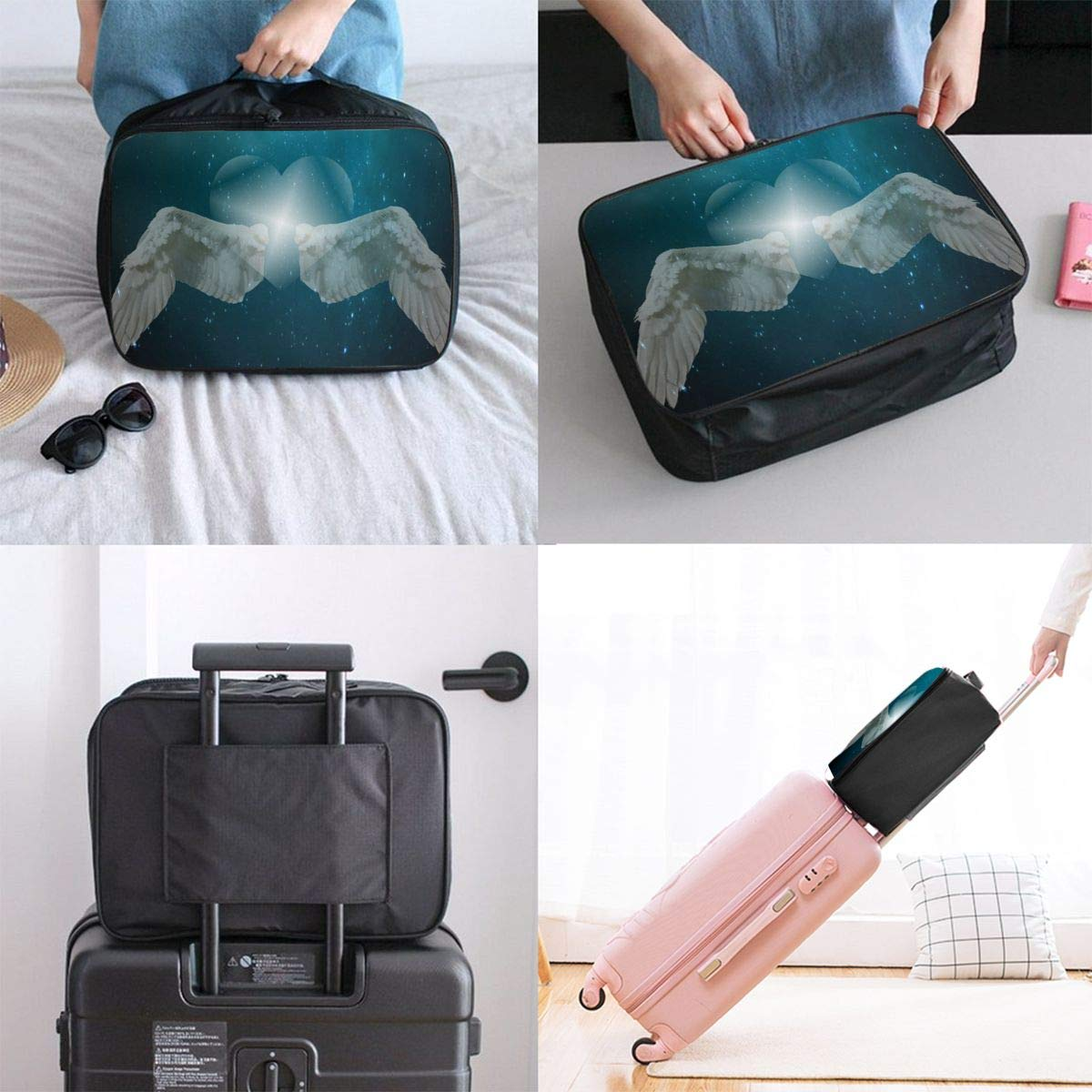 Love Wing Angel Sky Star Travel Lightweight Waterproof Foldable Storage Carry Luggage Large Capacity Portable Luggage Bag Duffel Bag