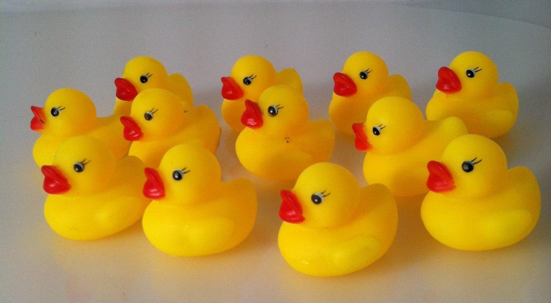 One Dozen (12) Mini Rubber Ducks Duckie Baby Shower Birthday Party ...