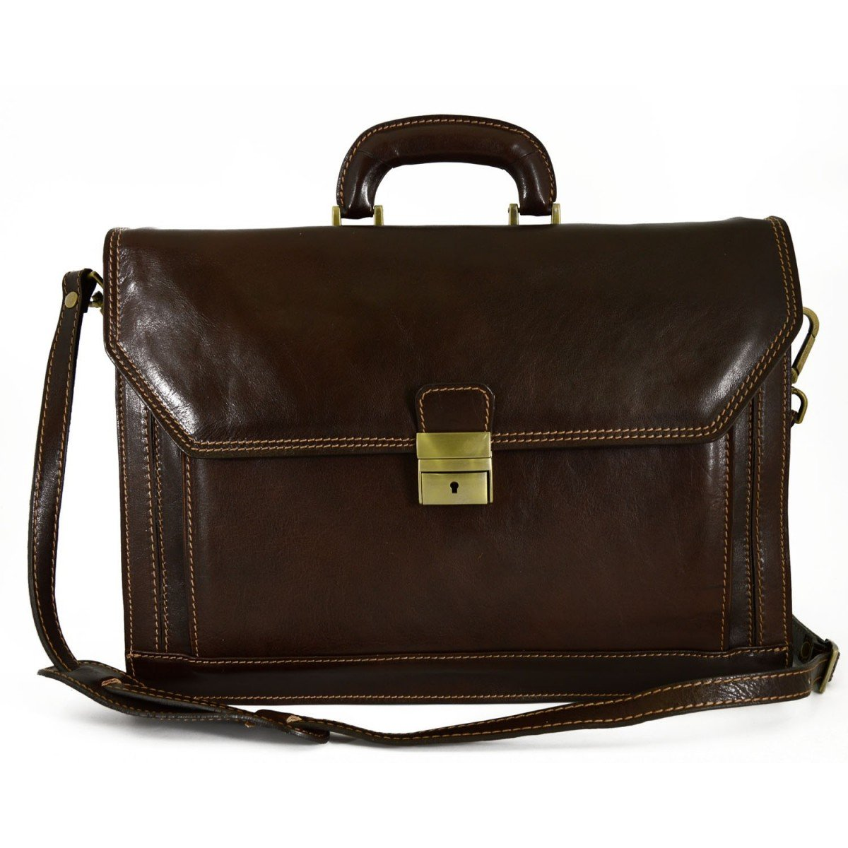 Made In Italy Genuine Leather Professional Briefcase 2 Compartments Front Pocket Color Dark Brown - Business Bag   B01CON7N4G