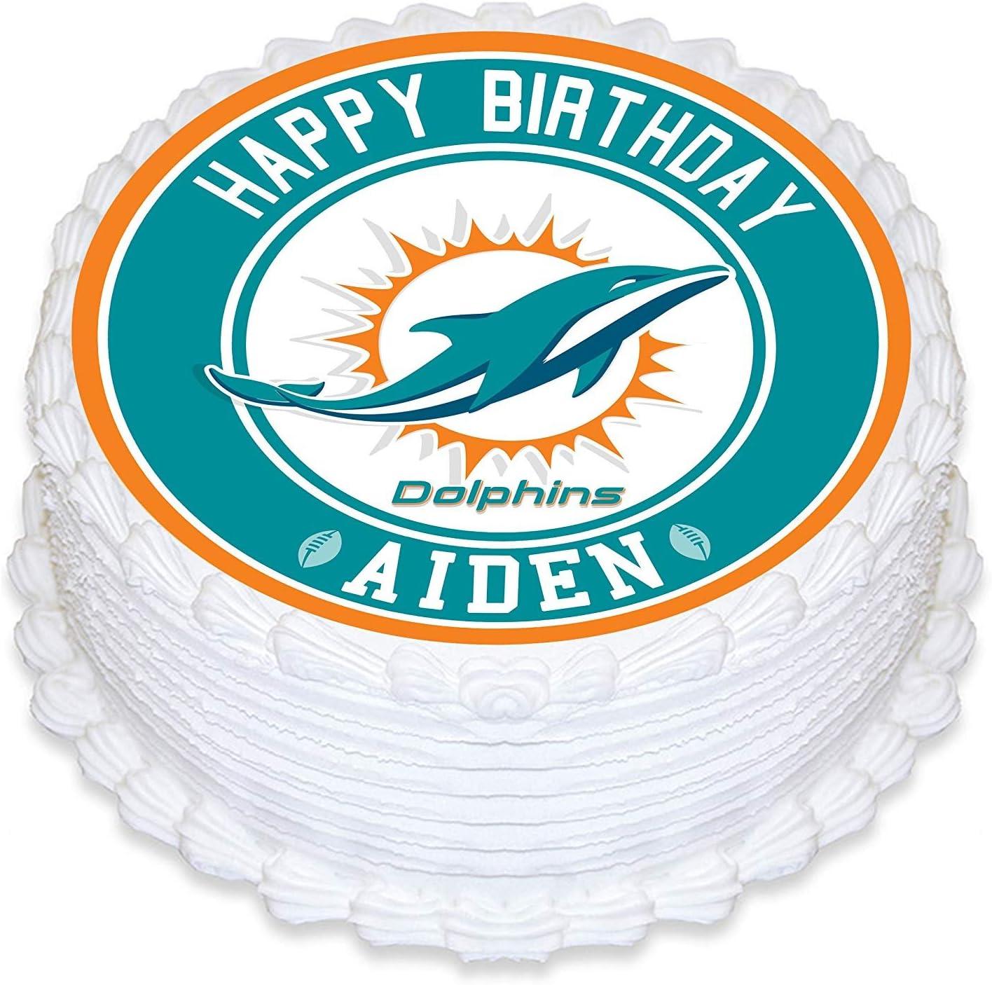 Strange Amazon Com Miami Dolphins Edible Image Cake Topper Personalized Personalised Birthday Cards Paralily Jamesorg