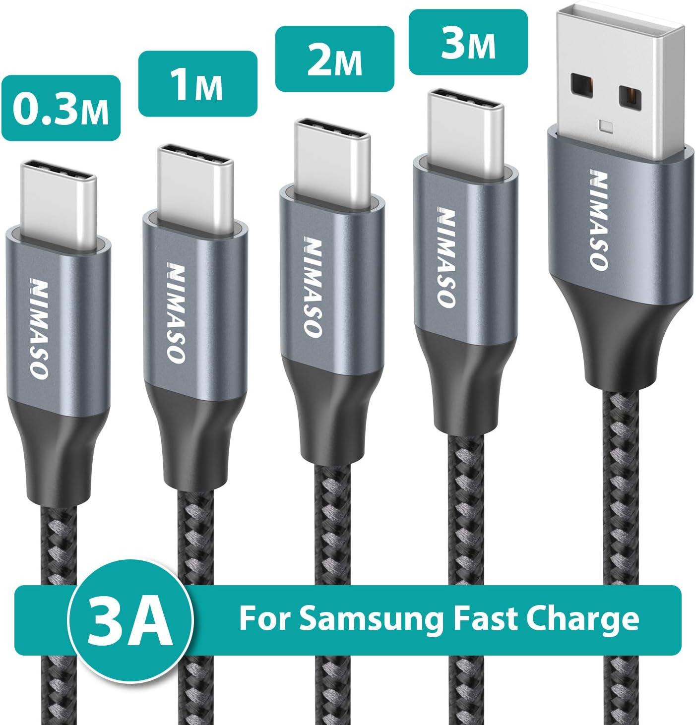 NIMASO Cable USB C 3A[4 Pack 0.3M+1M+2M+3M],Cable USB Tipo C para Carga y Sincronización Rápidas,Cargador Tipo C es Compatible con Samsung S10 S9 S8 A50 A70,Huawei P30 P20 Mate 20,Xiaomi Redmi Note 7