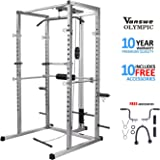 Power Rack with Lat Pull Attachment, Dip Handle and Tricep Rope Power Cage Home Gym Equipment Exercise Stand Olympic Squat Cage