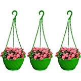 TrustBasket Colourful Plastic Hanging Basket with Bottom Saucer (Green) - Set of 3