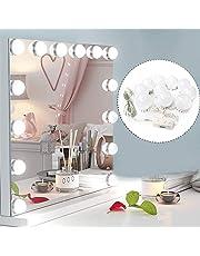 Ovonni Luci da Specchio Hollywood Style LED Vanity Mirror, Luci Specchio per Trucco Fai da Te, Apparecchio di Illuminazione con Dimmer e Alimentatore USB, 3 Modalità, 10 PCS