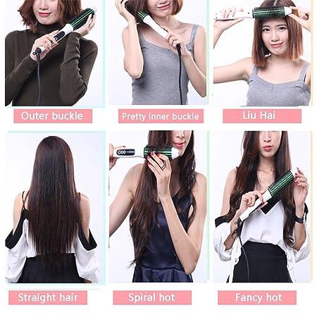 Hair curler-fyxd Fyxd pelo rizador pelo alisador 2 en 1 cabello corto barra eléctrica bobina gran rollo hebilla palillos de pelo arrugador (Color : Blanco): ...
