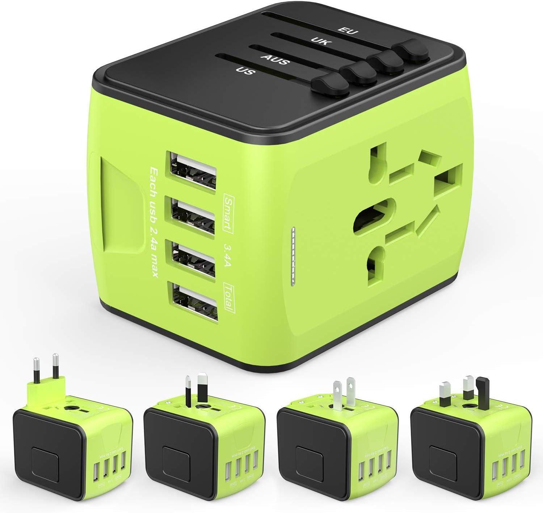 Adaptador de Viaje HUANUO Mundial para 224 países con 4 Puertos USB + 1 Toma de CA con Pantalla LED: Amazon.es: Electrónica