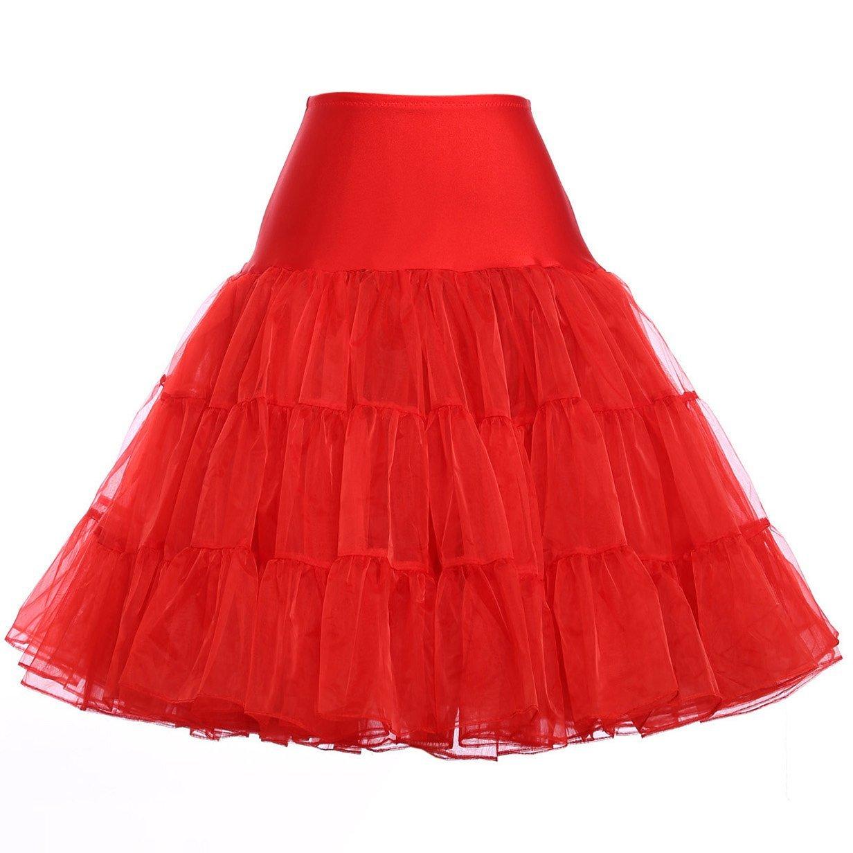 50s Retro Petticoat Vintage Knee Length Crinoline Underskirts Half Slips 12Colors